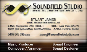 Clcikable thumbnail of Soundfield Studio business card, link to Soundfield Studio web site